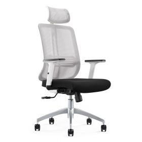 Design-Dreh-Bürostuhl Torino - Ergonomisch einstellbar - Lordosenstütze - Kopfstütze - Schwarz/Weiß