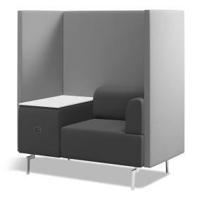 Büro-Lounge - Rocada Ergoline - luxuriöser Einsitzer mit Tisch und Akustik-Trennwand