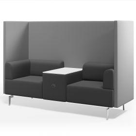 Büro-Lounge - Rocada Ergoline - luxuriöser Zweisitzer mit Tisch und Akustik-Trennwand