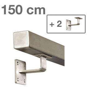 """Edelstahl-Treppengeländer - """"vierkant"""" - 150 cm + 2 Halterungen"""