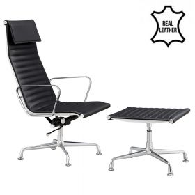 Lounge Chair Sevilla + Hocker - Echt Leder - Schwarz