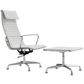 Lounge Chair Sevilla + Hocker - Echt Leder - Weiß
