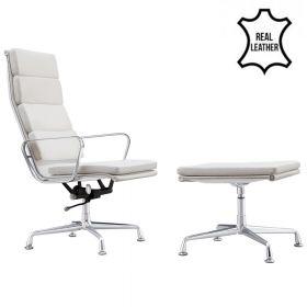 Lounge Chair Lerida + Hocker - Echt Leder - Weiß