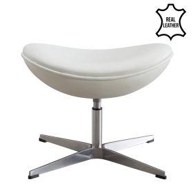 Egg Chair Fuß-Hocker - Echtes Leder - Weiß