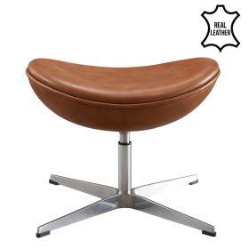Egg Chair Fuß-Hocker - Echtes Leder - Cognac
