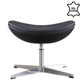 Egg Chair Fuß-Hocker - Echtes Leder - Schwarz