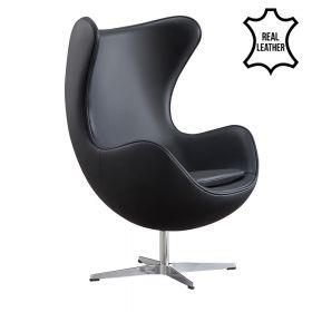 Egg Chair - Echt Leder - Schwarz - Moderner Klassiker
