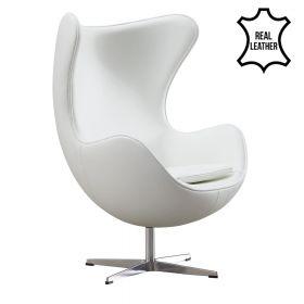 Egg Chair - Echt Leder - Weiß - Moderner Klassiker