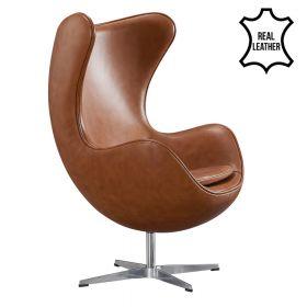 Egg Chair - Echt Leder - Cognac - Moderner Klassiker
