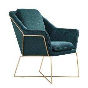 Design-Lehnsessel Selena - Smaragd-Grün - Goldener Edelstahl-Rahmen