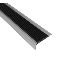 Alu-Treppenkantenprofil mit Antirutschbelag - Silber - Antirutsch-Streifen - 46 x 30 x 2700mm - 5 Stück