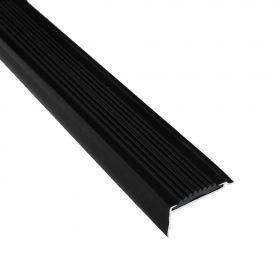 Treppenkantenprofil - Schwarz - Alu mit Gummi-Einlage - 42 x 22 x 1350 mm - 15 Stück