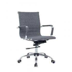 "Design-Bürostuhl ""Valencia"" – höhenverstellbare Wippmechanik – edle Optik – Stoffbezug Grau"