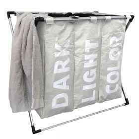 Klappbarer 3-Fach-Wäschesortierer - Gebrochen-Weiß - Wäschesack schnell herausnehmbar