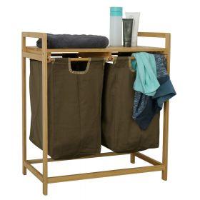 Bambus-Wäschesortierer - Armeegrün - 2 Fächer - Holz-Wäschekorb mit Regal