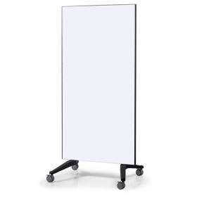 Mobiles Glassboard - Auf Rollen - 90x175cm - Weiß - Fahrbar, magnetisch und kratzfest