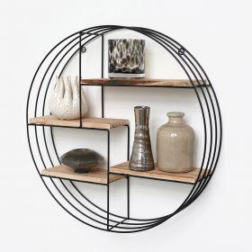 Wandregal aus schwarzem Metall mit 4 Holzböden - Rund - 50x11 cm