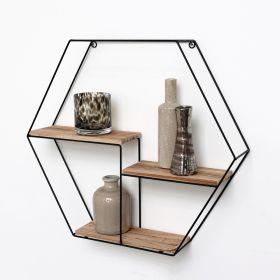 Schwarzes Metallwandregal mit 3 Holzböden - Hexagon - 48x55x10 cm