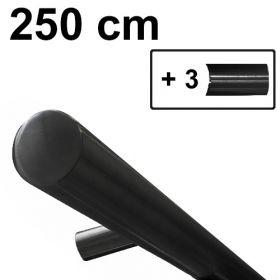 Design-Atahl-Handlauf - Schwarz - 250 cm inkl. 3 Haltern