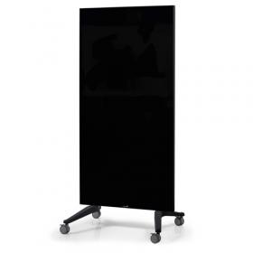 Glasboard - Mobil auf Rollen - 90x175cm - Schwarz - Fahrbar, magnetisch und kratzfest