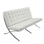 Design-Couch Barcelona (Replika) - Weiß - Exklusiver Luxus-Zweisitzer