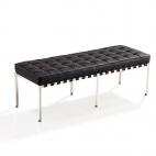 Design-Sitzbank Barcelona (Replika) - Schwarz - Exklusiver Doppel-Ottomane