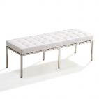 Design-Sitzbank Barcelona (Replika) - Weiß - Exklusiver Doppel-Ottomane