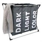 Klappbarer 3-Fach-Wäschesortierer - Dunkelgrau - Wäschesack schnell herausnehmbar